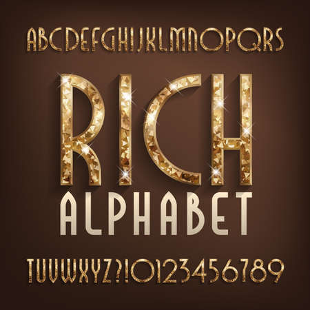 Rich alphabet font. Gold effect art deco letters and numbers with shadow. Stock vector typescript for your design.