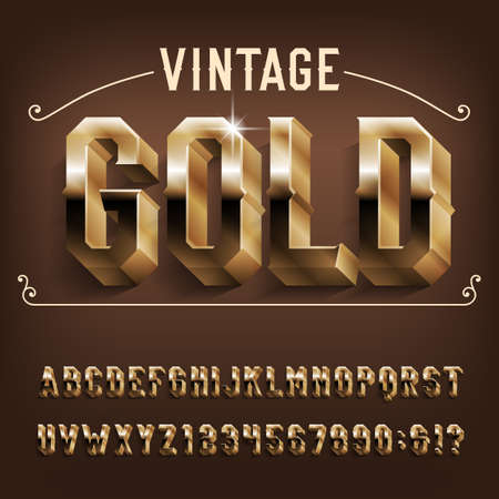 Vintage Gold alphabet font. 3D Golden effect letters and numbers with shadow. Stock vector typeface for your design. Stok Fotoğraf - 134647257