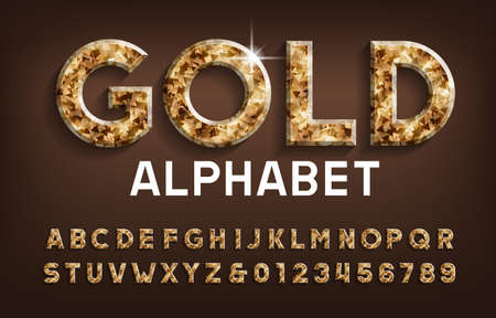 Gold alphabet font. Golden beveled letters and numbers with shadow. Stock vector typescript for your design. Stok Fotoğraf - 134647261