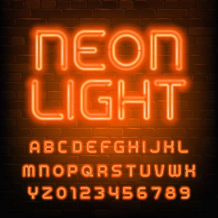 Neon Light alphabet font. Simple orange neon letters and numbers. Brick wall background. Stock vector typescript for your typography design. Çizim