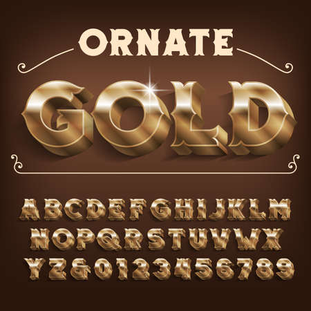 Ornate Gold alphabet font. 3D effect vintage letters and numbers with shadow. Stock vector typeface for your design.