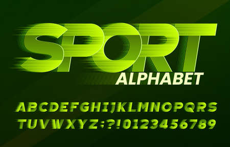 Sport alphabet font. Fast speed effect dynamic letters and numbers. Stock vector typescript for your typography design. Stok Fotoğraf - 134647267