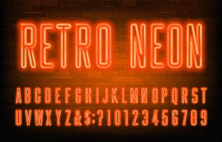 Retro Neon alphabet font. Condensed orange neon letters and numbers. Brick wall background. Stock vector typescript for your typography design. Çizim