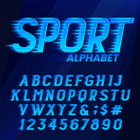 Sport alphabet font. Wind effect dynamic letters and numbers in blue colors. Stock vector typescript for your typography design. Çizim