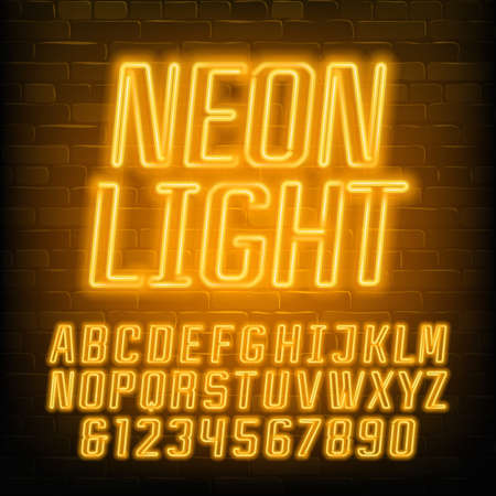 Neon alphabet font. Yellow neon geometric letters and numbers. Brick wall background. Stock vector typescript for your typography design.
