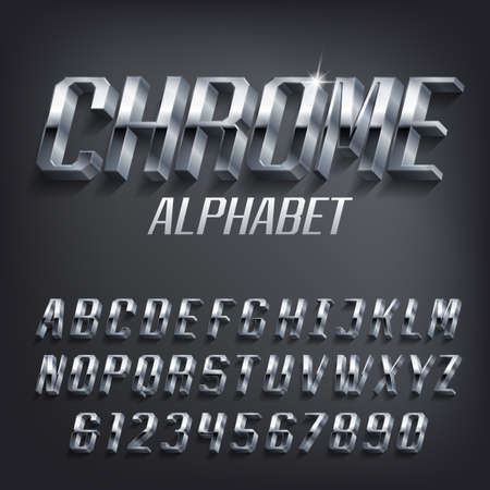 Chrome alphabet font. 3D effect geometric metallic letters and numbers with shadow. Stock vector typescript for your design. Stok Fotoğraf - 134647270