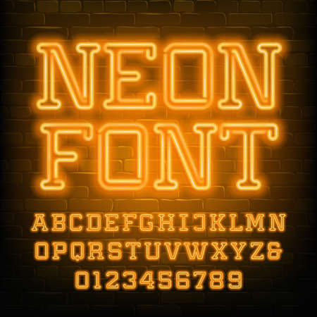 Neon alphabet font. Yellow neon serif letters and numbers. Brick wall background. Stock vector typescript for your typography design. Stok Fotoğraf - 134647271