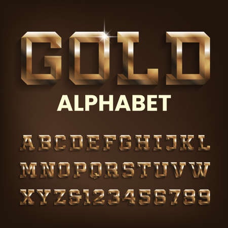 Gold alphabet font. Beveled golden letters and numbers with shadow. Stock vector typescript for your design.