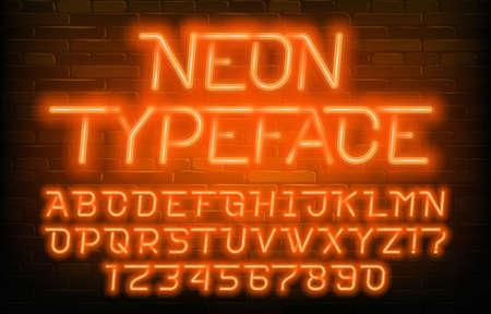 Neon alphabet typeface. Futuristic orange neon letters and numbers. Brick wall background. Stock vector font for your typography design. 向量圖像