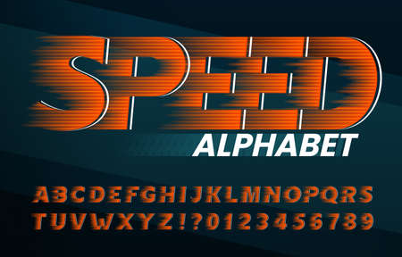Speed alphabet font. High speed effect letters and numbers. Stock vector typescript for your typography design.