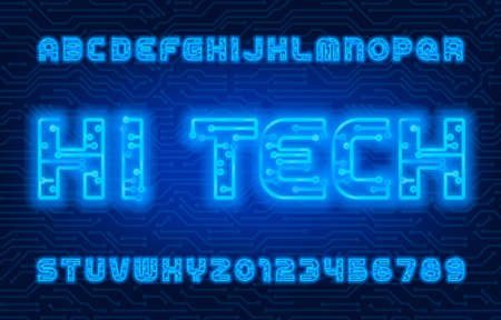 Hi Tech alphabet font. Neon color letters and numbers. Stock vector circuit board typescript.