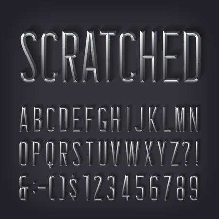 Scratched alphabet font. Beveled metallic letters and numbers with shadow. Stock vector typescript for your design.