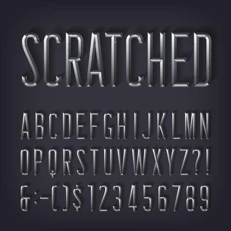 Zerkratzte Alphabetschrift. Abgeschrägte metallische Buchstaben und Zahlen mit Schatten. Vektor-Typoskript auf Lager für Ihr Design.