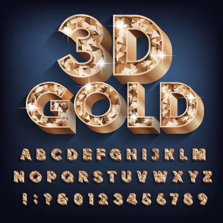 3D Gold alphabet font. Bold glitter letters, numbers and symbols with shadow. Stock vector typescript for your design.