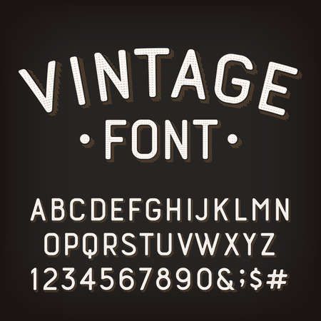Vintage alphabet font. Damaged retro letters, numbers and symbols. Vector typescript for your typography design. Vetores