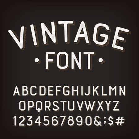 Vintage-Alphabet-Schriftart. Beschädigte Retro-Buchstaben, Zahlen und Symbole. Vektor-Typoskript für Ihr Typografie-Design. Vektorgrafik