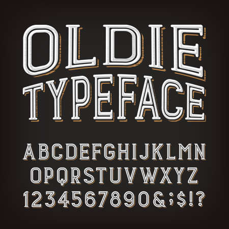 Oldie alphabet font. Scratched vintage letters, numbers and symbols. Vector typescript for your typography design.