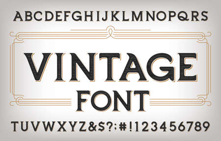 Vintage alphabet font. Scratched antique letters, numbers and symbols. Stock vector typescript for your typography design.