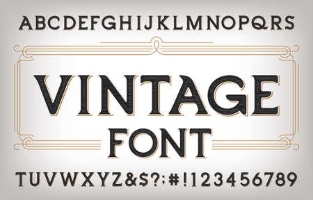 Vintage-Alphabet-Schriftart. Zerkratzte antike Buchstaben, Zahlen und Symbole. Vektor-Typoskript auf Lager für Ihr Typografie-Design.
