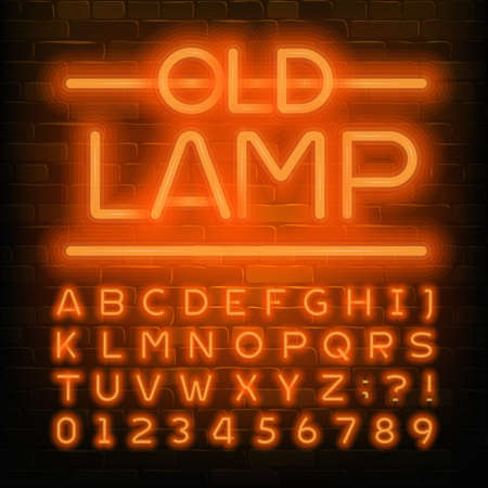 Old Lamp alphabet font. Orange neon retro letters and numbers. Brick wall background. Stock vector typescript for your typography design. Reklamní fotografie - 138471447