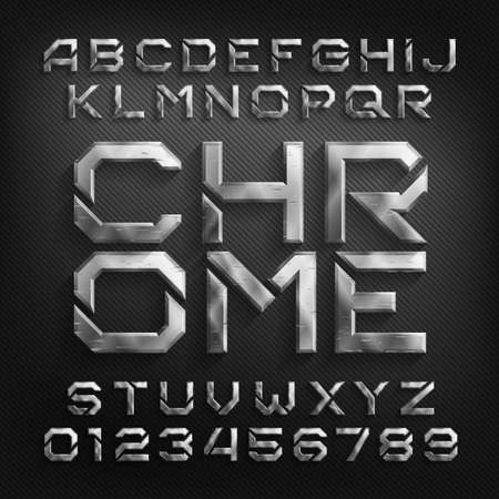 Damaged Chrome alphabet font. Scratched beveled metallic letters and numbers with shadow. Stock vector typeface for your design. Illusztráció