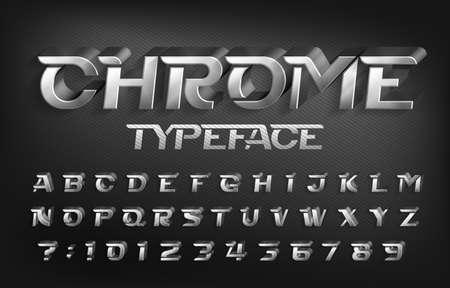 Carattere tipografico cromato. Lettere e numeri effetto metallo 3D con ombra. Carattere alfabeto vettoriali stock per il tuo design tipografico.
