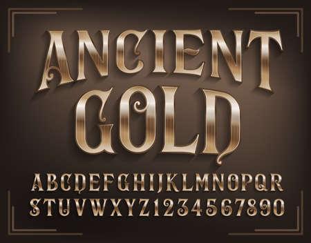 Police de l'alphabet or antique. Lettres et chiffres dorés avec ombre. Type de script vectoriel stock pour votre conception. Vecteurs