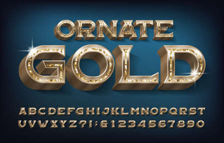 Ornate Gold alphabet font. 3d golden metallic letters and numbers. Stock vector typescript for your design. Vectores