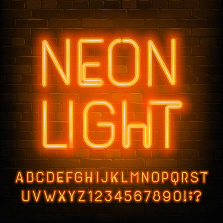 Neon Light alphabet font. Orange neon light letters, numbers and symbols. Brick wall background. Stock vector typeset for your typography design.