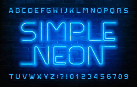 Simple Neon alphabet font. Blue light letters and numbers. Brick wall background. Stock vector typeface for your typography design.