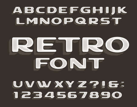 Retro alphabet font. Vintage letters and numbers. Stock vector typeface for your typography design.