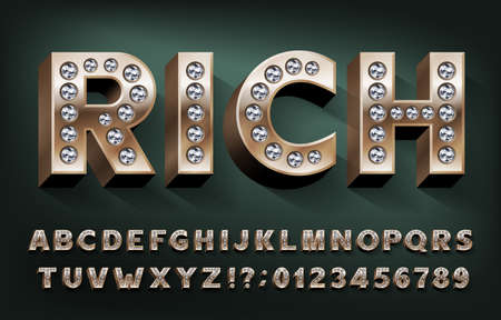 Rich alphabet font. 3d gold metal letters and numbers with diamonds. Stock vector typeset for your design.