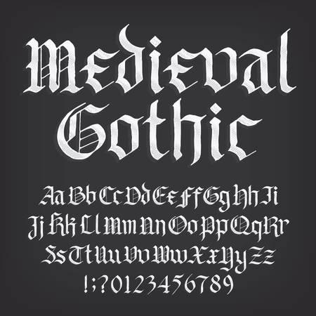 Fuente de alfabeto gótico medieval. Antiguos números, símbolos y letras mayúsculas y minúsculas. Stock vector mecanografiado para su diseño.