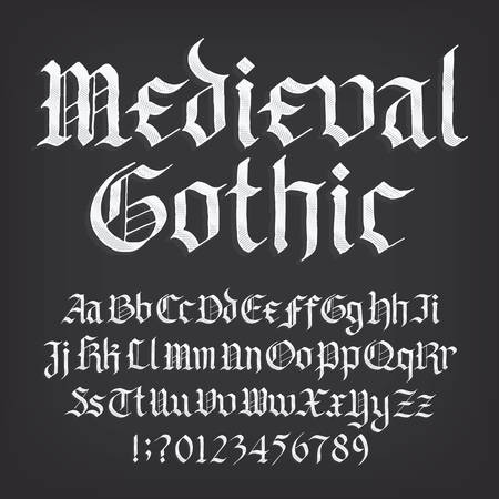 Medieval Gothic alphabet font. Old uppercase and lowercase letters, symbols and numbers. Stock vector typescript for your design.