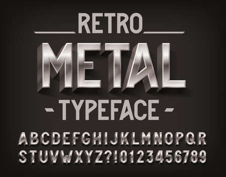Retro Metal alphabet font. 3D metallic letters and numbers. Stock vector typescript for your design.