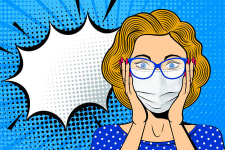 Pop art female face in medical mask. Shocked blonde woman in glasses with speech bubble. Retro dotted background. Healthcare vector illustration.