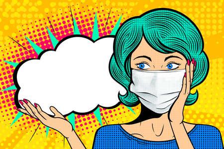 Visage féminin pop art en masque médical. Femme comique avec bulle de dialogue. Fond de demi-teinte rétro. Illustration vectorielle de soins de santé. Vecteurs