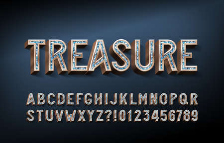 Treasure alphabet font. 3D gold letters and numbers with gemstones. Stock vector typescript for your design.