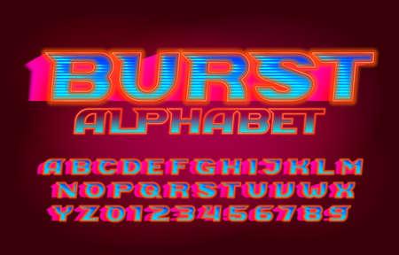 Burst alphabet font. Vivid letters, numbers and symbols. Retro-futuristic vector typescript for your typography design. Illustration