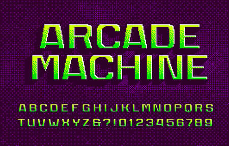 Arcade Machine alphabet font. 3D digital letters and numbers. Abstract pixel background. 80s arcade video game typescript.