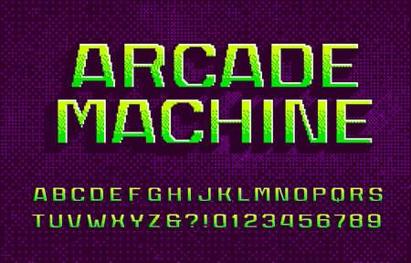 Fuente del alfabeto Arcade Machine. Números y letras digitales 3D. Fondo abstracto de píxeles. Escritura mecanografiada del videojuego arcade de los 80.