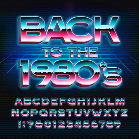 Back to the 1980s alphabet font. Glowing 3D letters and numbers in 80s style. Stock vector typeface for your typography design. Illustration