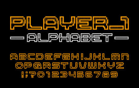 Player 1 alphabet font. Digital pixel letters, numbers and symbols. 80s computer video game typescript.