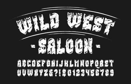 Wild West Saloon alphabet font. Hand drawn letters, numbers and symbols. Stock vector typeface for your design. Illustration