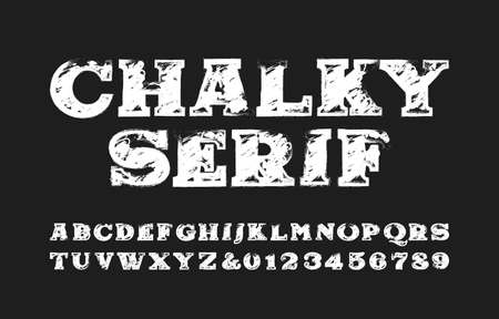 Chalky Serif alphabet font. Hand drawn serif letters and symbols. Stock vector typeface for your design. Illustration