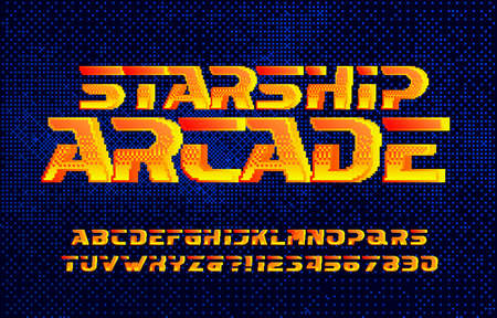Starship alphabet font. Digital letters and numbers. Pixel background. 80s arcade video game typescript.