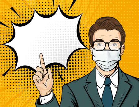 Pop art male face with glasses in medical mask. Comic man is pointing his finger with speech bubble. Retro halftone background. Healthcare vector illustration.