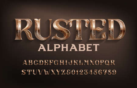 Rusted alphabet font. Ancient scratched metal letters and numbers. Stock vector typescript for your design.