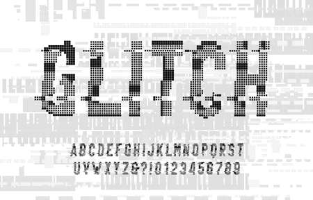 Glitch alphabet font. Digital distorted pixel letters and numbers. Glitch background. 80s computer typescript. Ilustración de vector