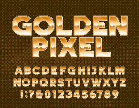 Golden Pixel alphabet font. Gold effect letters and numbers. Pixel background. 80s arcade video game typescript.